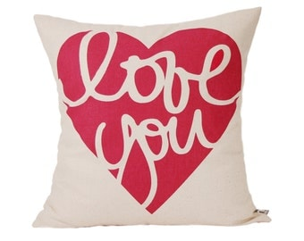"Love You  Pillow Cover // 16""x16"" Silk Screen Red Pillow Cover"