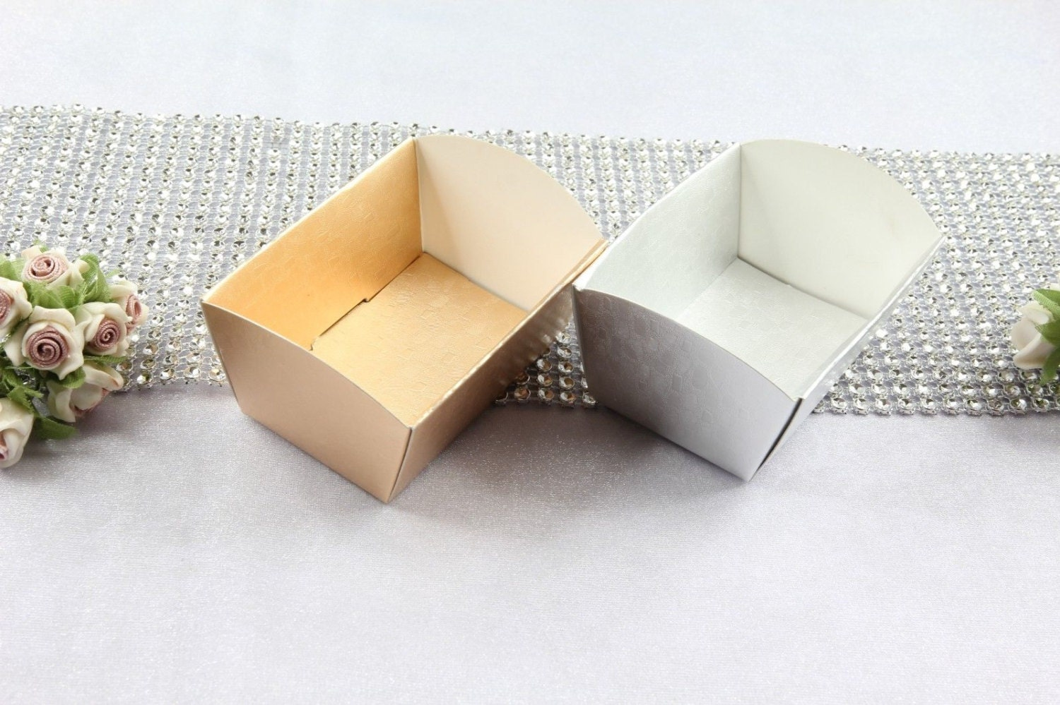Mini Paper Candy Cup : Metallic mini paper pieces candy cups cookie nut tray