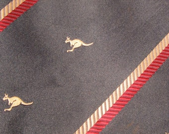 """Vintage Australian Tie Company Neck Tie (55""""/3.75"""")- Dark (""""Hunter"""") Green with Red and Beige Diagonal Striping  and Kangaroos"""