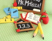 Fondant School Party Cupcake Toppers 12 qty Teacher birthday, back to school, fondant apple, books, ruler, chalkboard, pencil