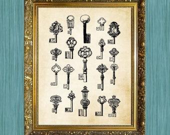 Antique Keys Print 8 x 10