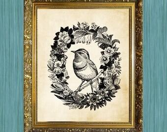 Bird Art Print Bird in Wreath