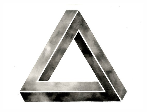 Large Original Watercolor. Impossible Triangle Art . Watercolor Painting . Black and White Graphic Art . Penrose Triangle Artwork