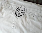 Vintage French pillow cases with handmade ladder drawn thread work, Richelieu embroidery, unused condition from 1900s SPECIAL OFFER 20% off