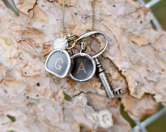 Vintage Typewriter Key Necklace with Swarovski Charm & Trunk Key (two letters)