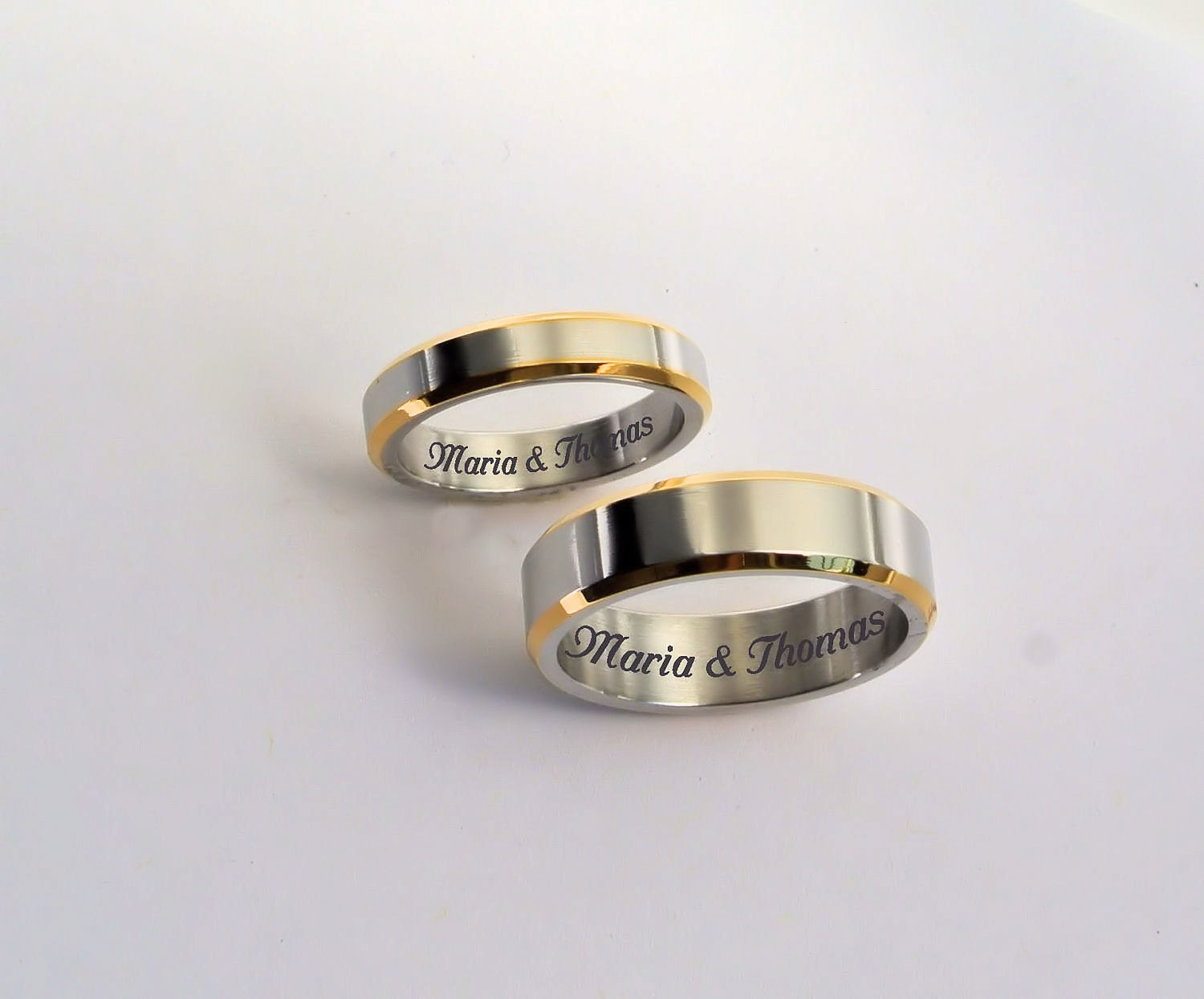 engraved promise rings personalized promise rings two tone