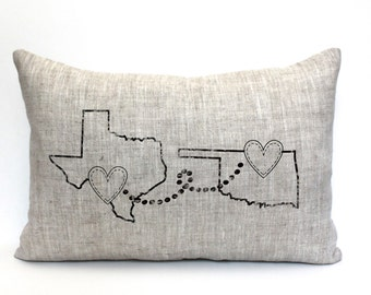 """housewarming gift, wedding gift, personalized pillow, map pillow, custom gift, gift for her, anniversary, mother's day gift  """"The Distance"""""""