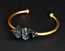 Black Tourmaline and Gold Bangle, Black Tourmaline Bracelet
