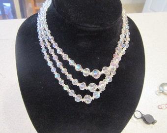 Old Vintage 3 Strand Cut Graduated Crystal Necklace