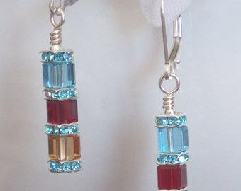 Crystal earrings Sterling Silver and Swarovski Crystals Mother's Day Earrings