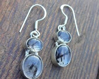 Clear & Black Glass Bezel Earrings - Dangle Earrings - Black Faux Rutile Jewelry