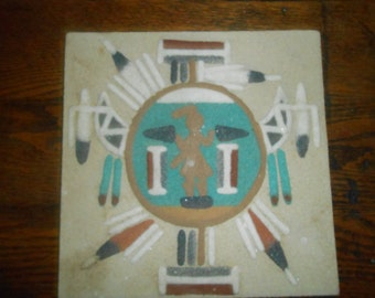 Vintage Native American Sand Art Painting Tile Plaque Signed