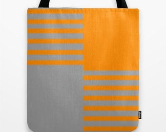 Tangerine and Grey Color Block Tote, Canvas Tote Bag, Women's Tote Bag, Back to School Tote Bag