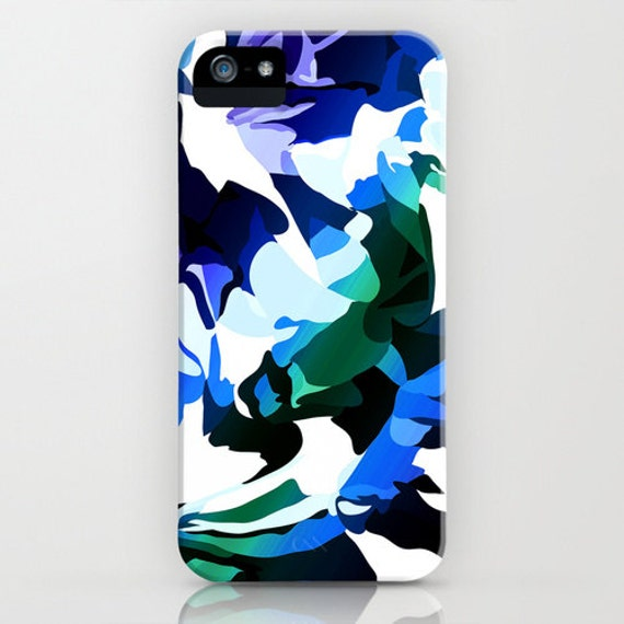 Phone case - iphone 5 5s case - blue and white cell phone case art    Iphone 5s Blue And White
