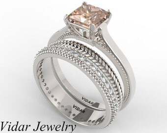 Princess Cut Morganite Wedding Ring Set,Unique Wedding Ring Set,Morganite Engagement Ring Set,Princess Cut Wedding Ring Set,Unique Ring Set
