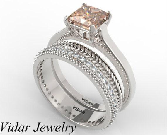 Princess Cut Morganite Wedding Ring SetUnique Wedding Ring