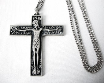 Large Vintage French Silver Cross On 24 Inch Sterling Silver Chain Necklace