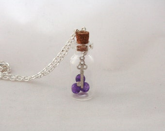 Key and Purple Glass Beads | Bottle Necklace