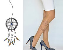 Dreamcatcher Tattoo Tights , DreamCatcher Native American Inspired , Pprinted Tattoo Tights , Fashion Pantyhose