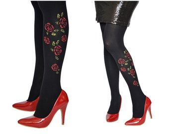 HAND PAINTED Tights With  Roses,Red Flowers Pantyhose,Black  Leggings,Fashion Pantyhose