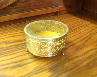 Vintage Gold Tone Jewelry Trinket box with Glass Lid