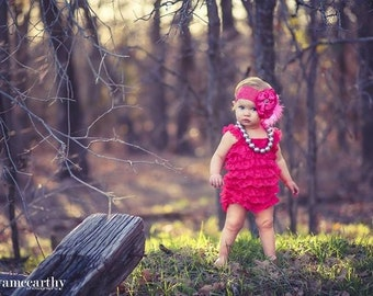 vintage hot pink lace romper with matching satin headband. Size 0-3mo 6mo-2t 2t-4t photo prop birthday pageant vintage look