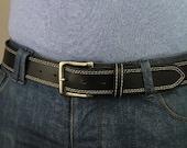 Men's Genuine Black Leather Belt Changeable Handmade fit-all Retro (1104)