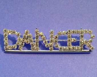 Rhinestone Bling DANCER Pin