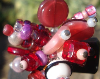 Red Glass Bead Ring