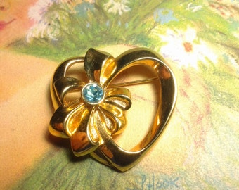 vintage costume jewelry brooch pin crystal heart