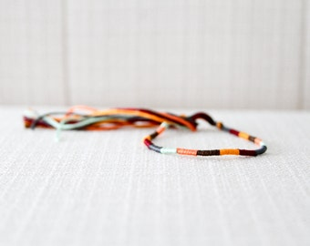 Friendship Bracelet Mustard Mint Peach Brown Burgundy and Gray Embroidery Threads