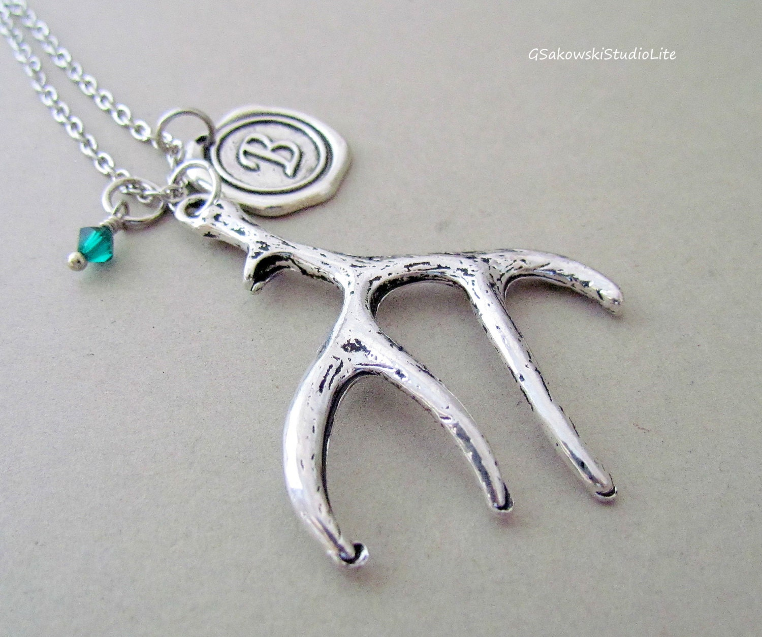 deer antler charm necklace personalized antique silver wax