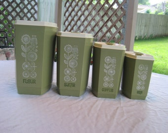 Vintage Set Of Four Canisters 1950