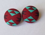 Burgundy and Teal Southwest Tribal Fabric Button Earrings