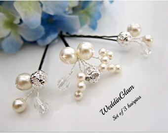Pearl Hair Clips, Bridal Hair Pins, Wedding Hair Accessories, Swarovski Pearl Wedding Hair Pins, Set of 3, Floral Vine, Rhinestone hair clip
