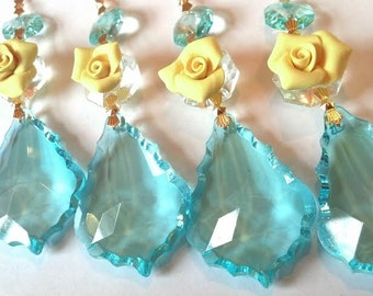 ONE Chandelier Crystals French Cut Antique Green (Light Aqua) 50mm Yellow Rose Ornaments Prism Pendalogue