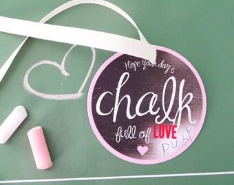 Valentine's Day. Kids Valentines. PRINTABLE Valentine Tags - Chalkboard