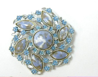 Vintage Blue Confetti Cabochon and Enamel Flowered Brooch Pin