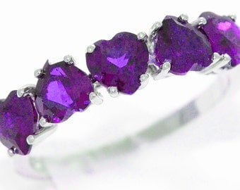 3 Carat Amethyst Heart Ring .925 Sterling Silver Rhodium Finish