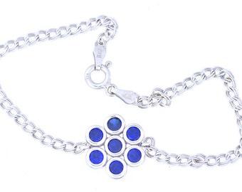1.75 Ct Blue Sapphire Bezel Bracelet .925 Sterling Silver Rhodium Finish