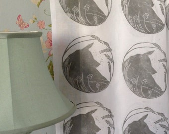 Hand Printed voile curtain panel