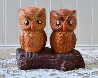 Vintage Ceramic Owl Salt and Pepper Set on Wood Log