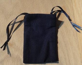 Small Cotton Drawstring Mojo Bag--Black