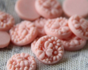 12 pcs of resin flower cabochon round floral 15mm -0053-24-soft pink