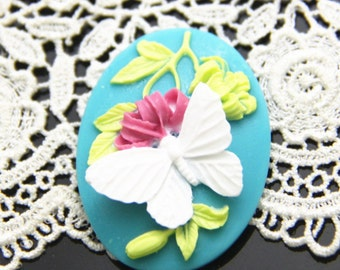 6 pcs of resin flower butterfly cameo 30x40mm-RC0164