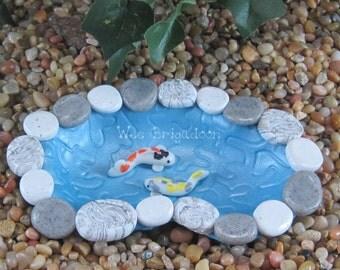 Small Koi pond for Fairy Garden OOAK handmade