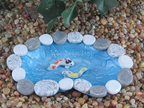 Small Koi pond for Fairy Garden OOAK handmade
