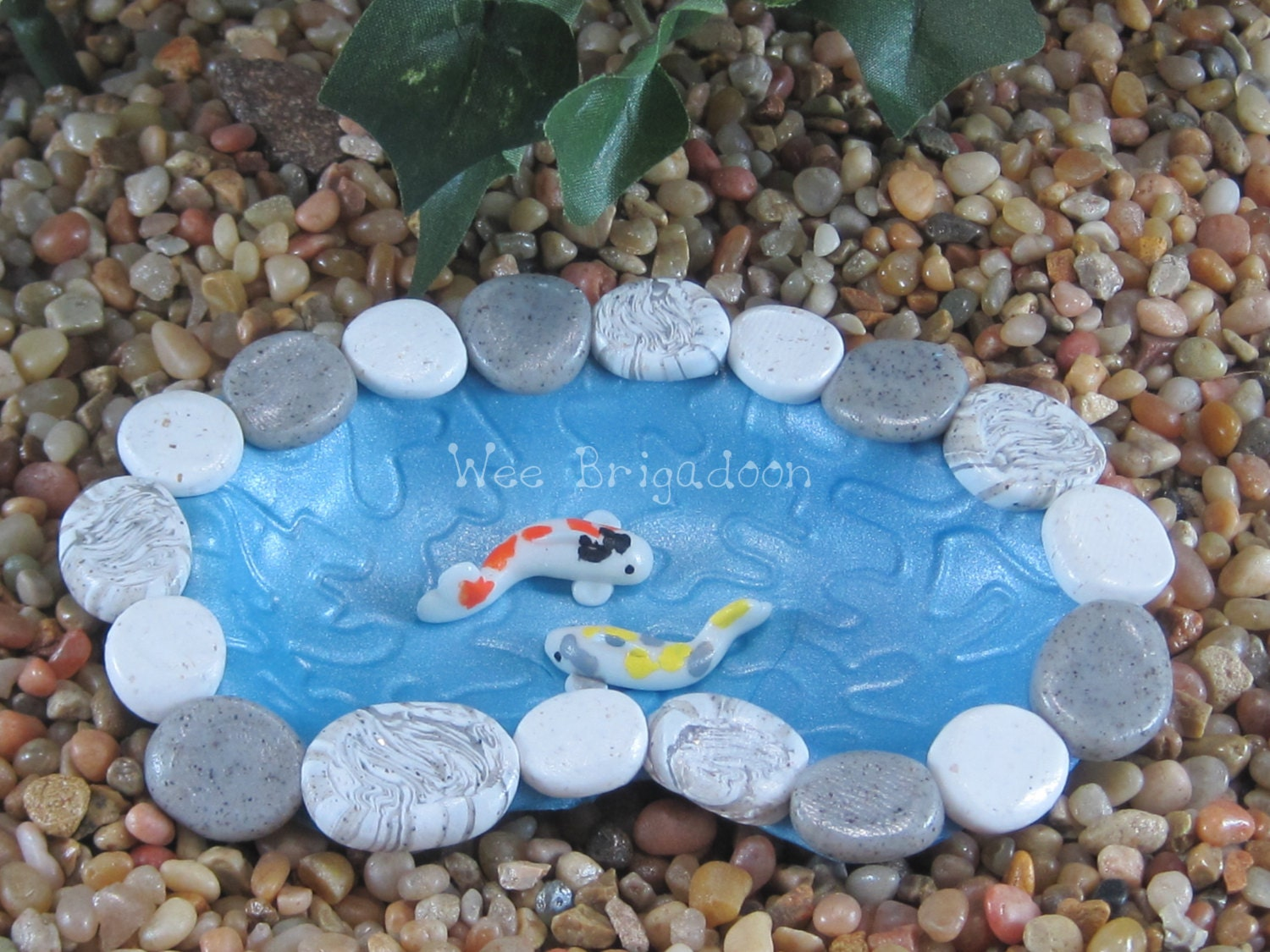 Small koi pond for fairy garden ooak handmade for Small koi pond