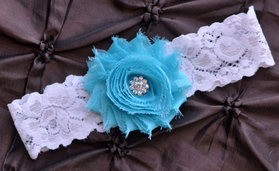 Wedding Garter, Bridal Garter - White Lace Garter, Toss Garter, Shabby Chiffon Aqua, Something Blue, Aqua Wedding Garter