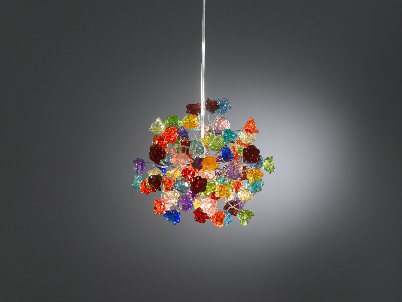 Ceiling Light Fixture With Rainbow Color Roses Pendent Light